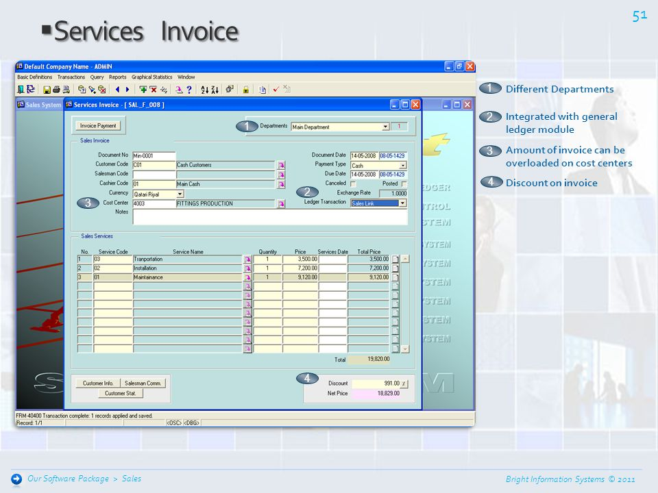 Services Invoice 1 Different Departments