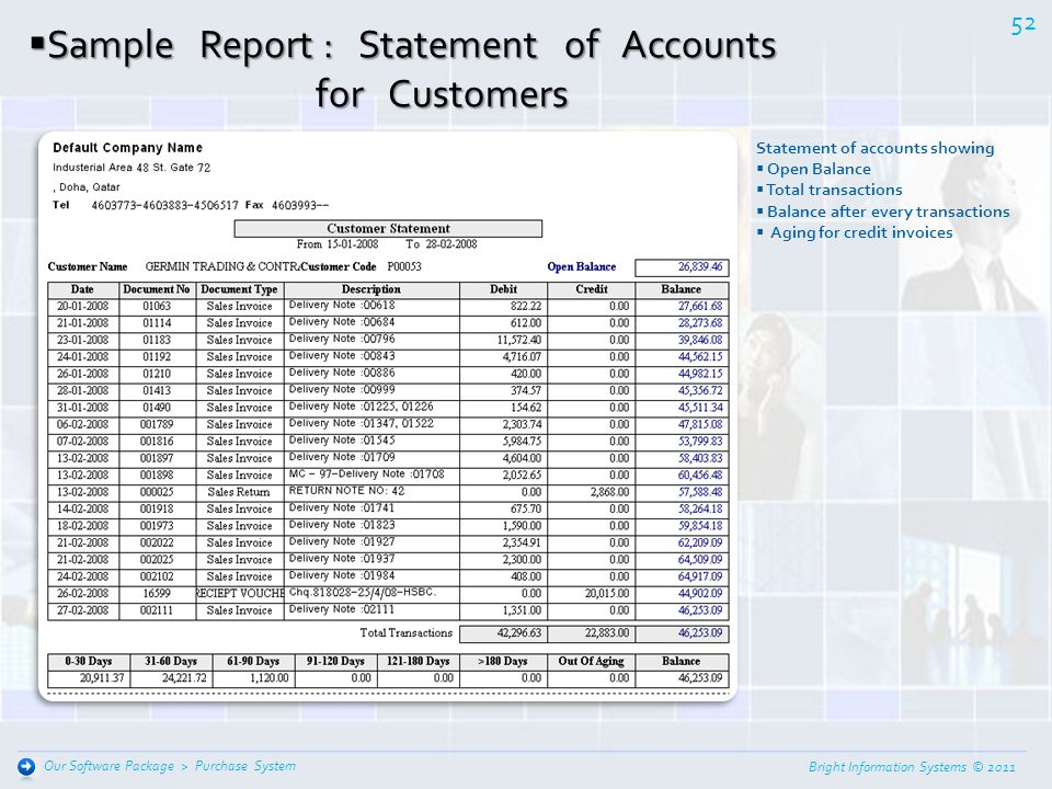 Sample Report : Statement of Accounts for Customers