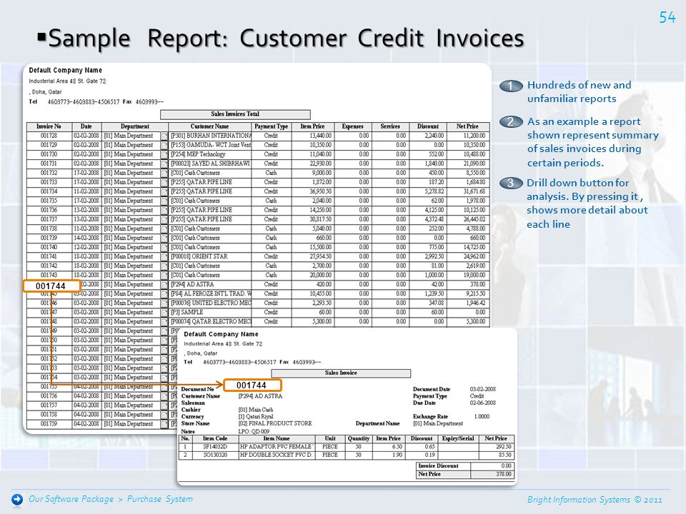 Sample Report: Customer Credit Invoices