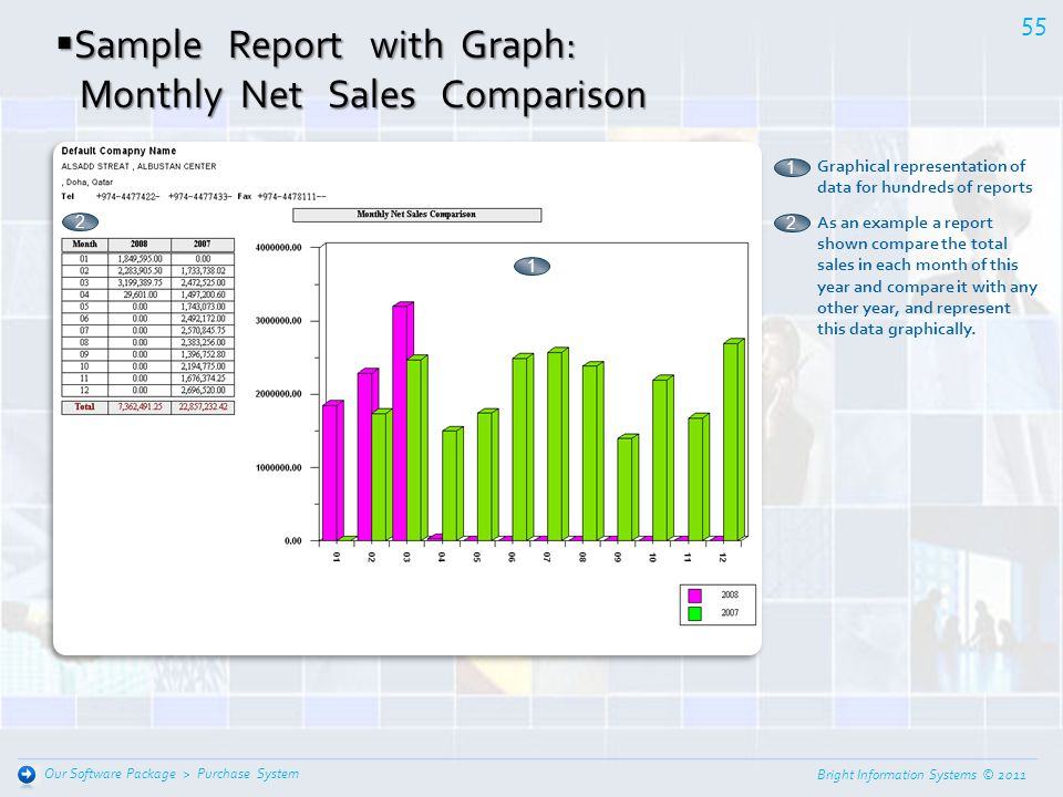 Sample Report with Graph: Monthly Net Sales Comparison