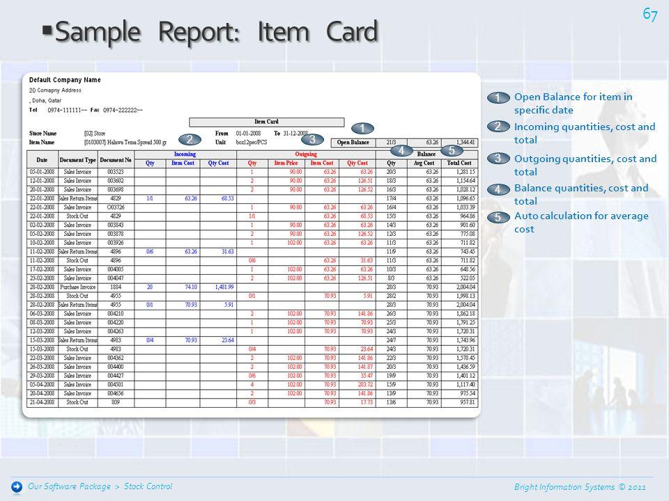 Sample Report: Item Card
