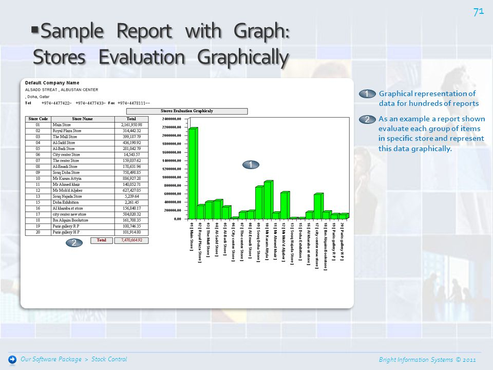 Sample Report with Graph: Stores Evaluation Graphically