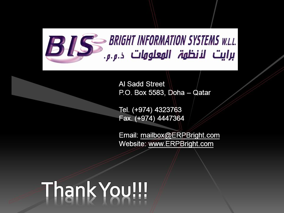 Thank You!!! Al Sadd Street P.O. Box 5583, Doha – Qatar