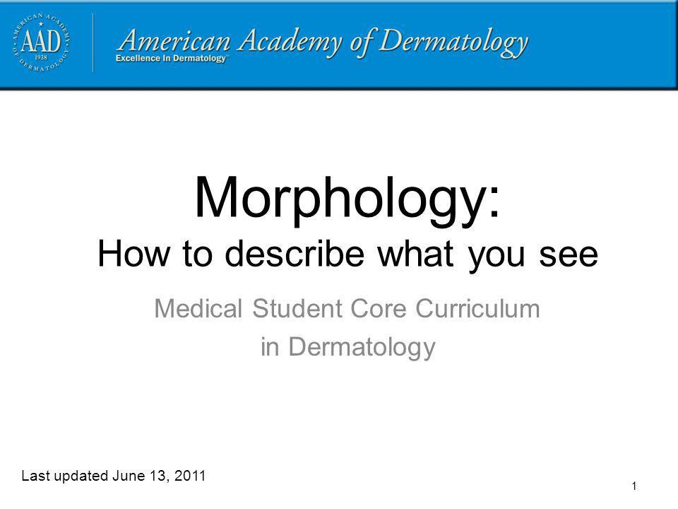 Morphology: How to describe what you see