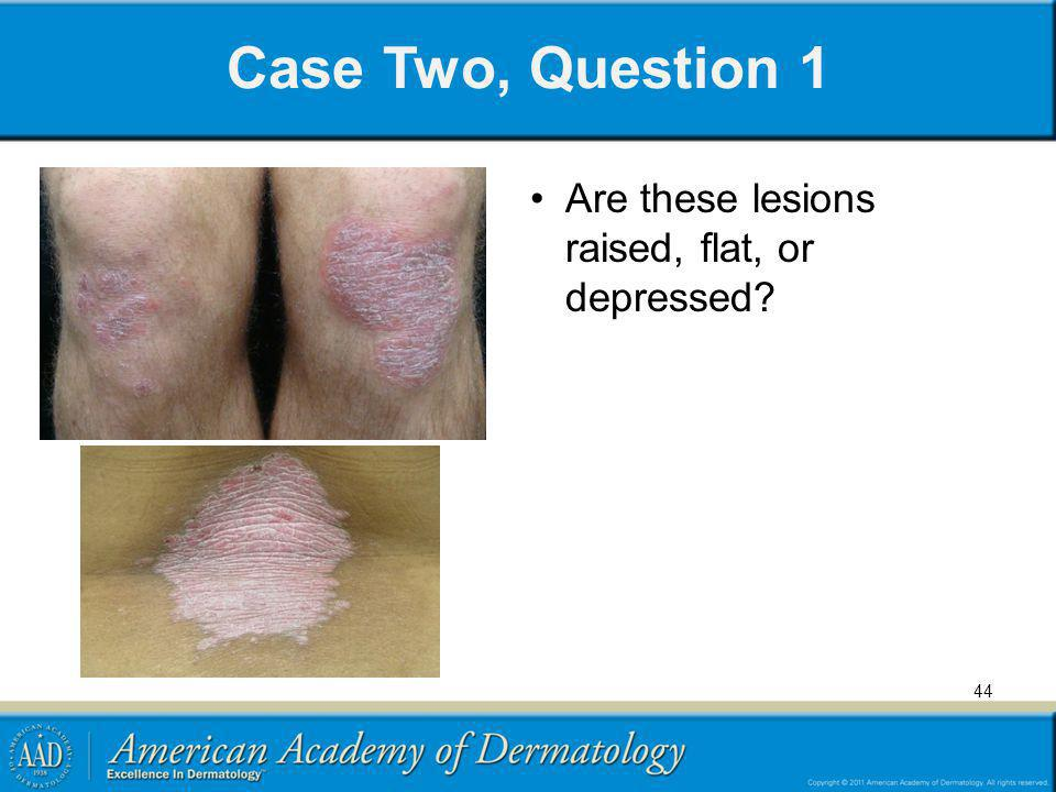 Case Two, Question 1 Are these lesions raised, flat, or depressed