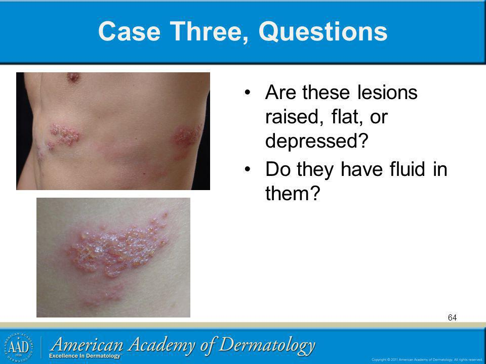 Case Three, Questions Are these lesions raised, flat, or depressed