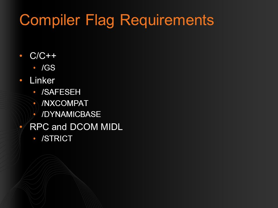 Compiler Flag Requirements
