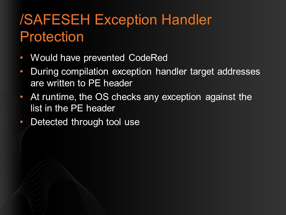 /SAFESEH Exception Handler Protection