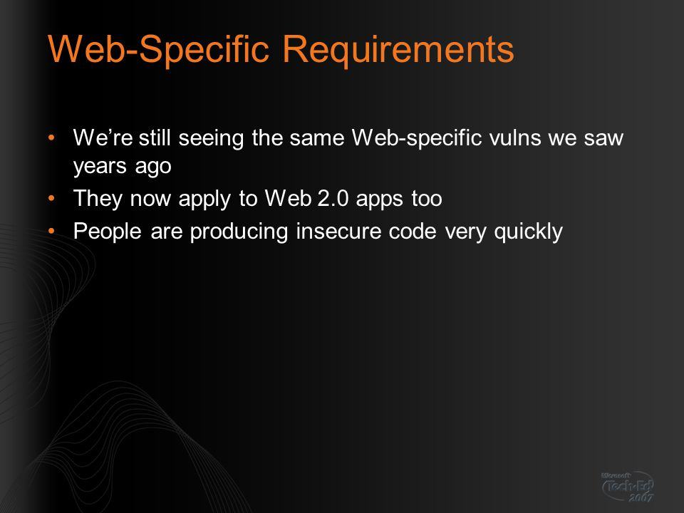 Web-Specific Requirements