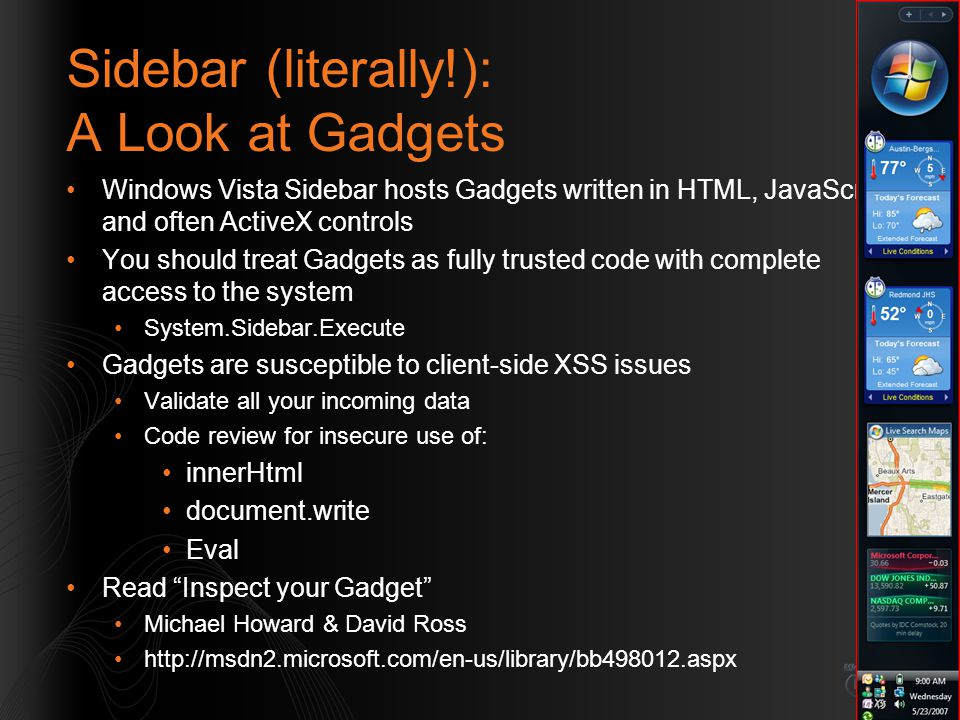 Sidebar (literally!): A Look at Gadgets