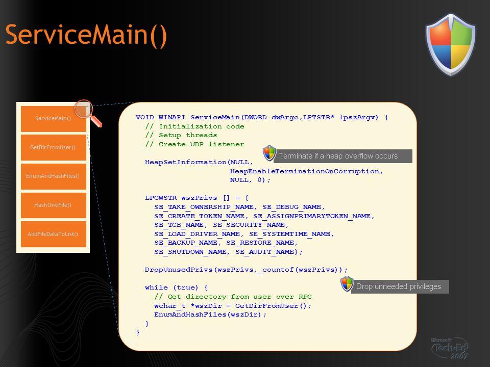 ServiceMain() VOID WINAPI ServiceMain(DWORD dwArgc,LPTSTR* lpszArgv) {
