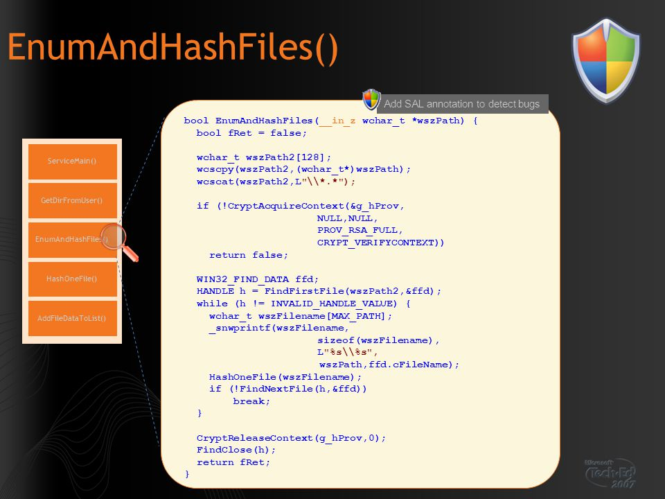 EnumAndHashFiles() Add SAL annotation to detect bugs