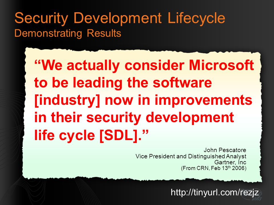 Security Development Lifecycle Demonstrating Results