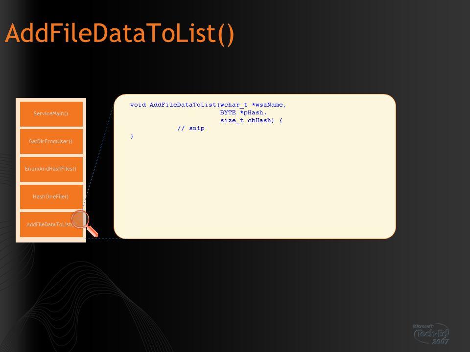 AddFileDataToList() ServiceMain() EnumAndHashFiles() GetDirFromUser() HashOneFile() AddFileDataToList()