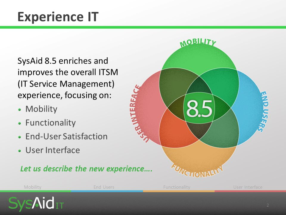 Experience IT SysAid 8.5 enriches and improves the overall ITSM (IT Service Management) experience, focusing on: