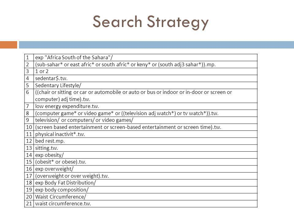 Search Strategy 1 exp Africa South of the Sahara / 2