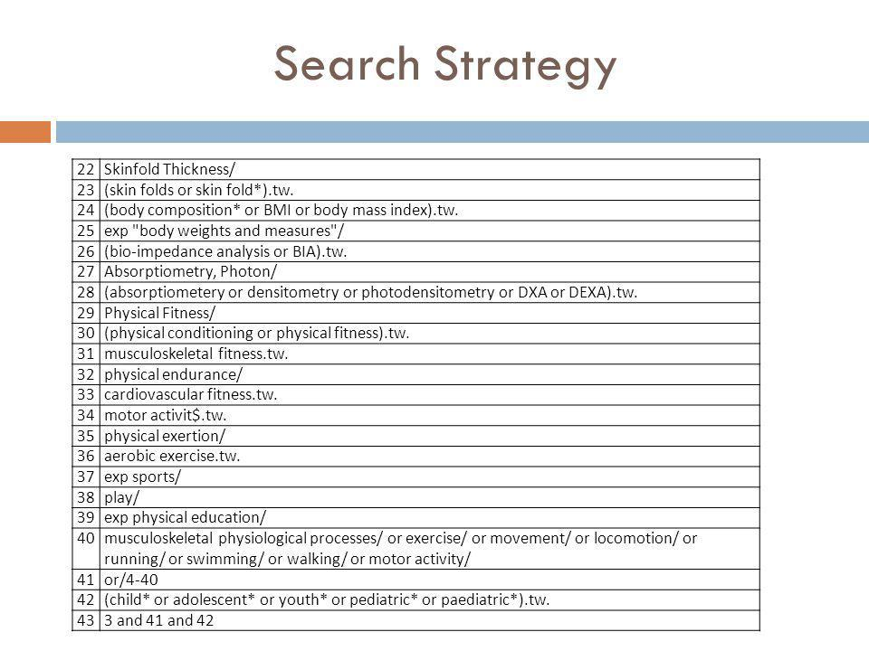 Search Strategy 22 Skinfold Thickness/ 23