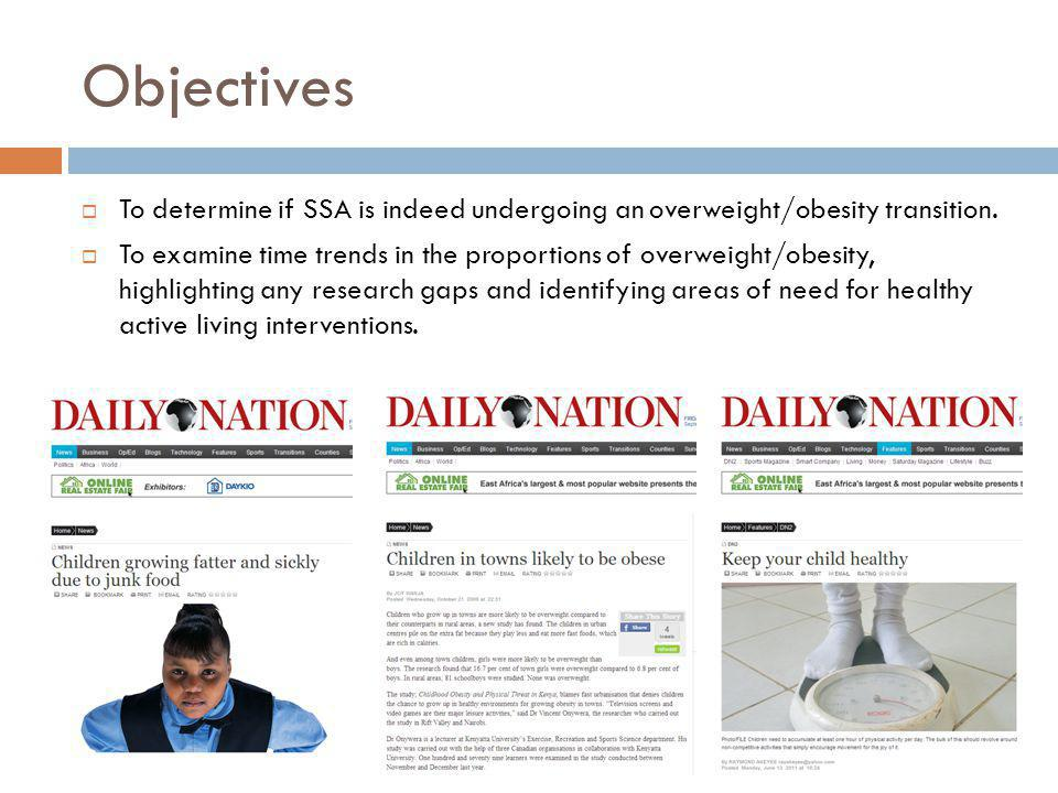 Objectives To determine if SSA is indeed undergoing an overweight/obesity transition.