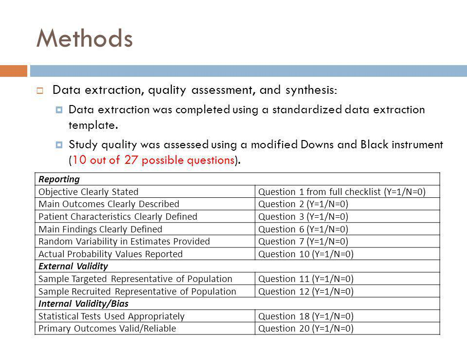 Methods Data extraction, quality assessment, and synthesis: