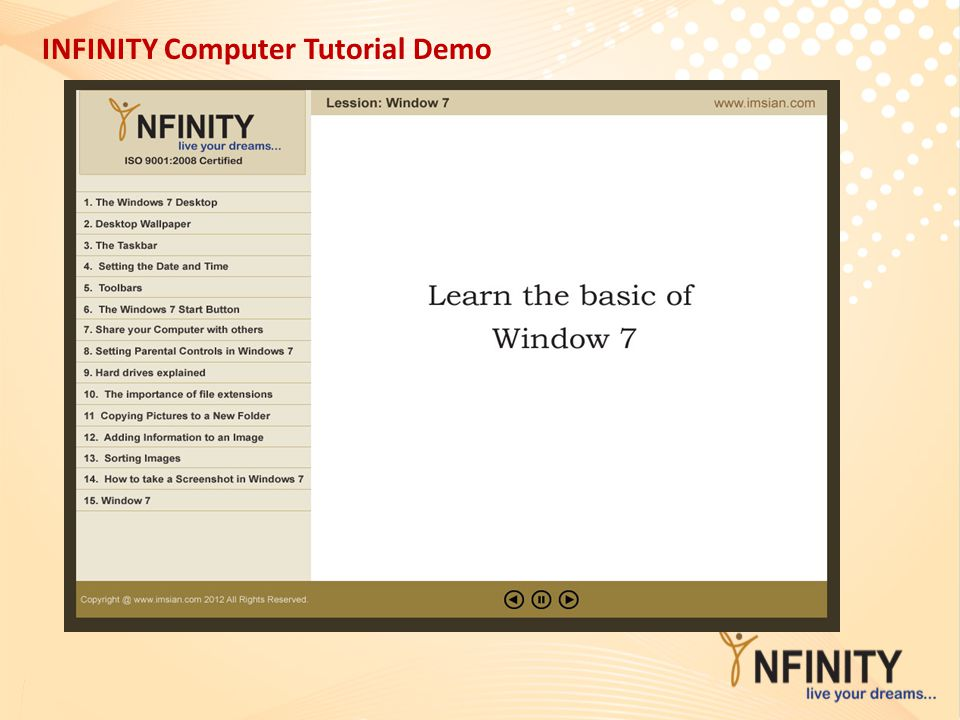 INFINITY Computer Tutorial Demo