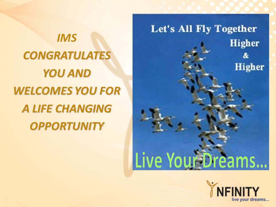Live Your Dreams… IMS CONGRATULATES YOU AND WELCOMES YOU FOR