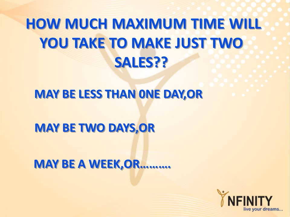 HOW MUCH MAXIMUM TIME WILL YOU TAKE TO MAKE JUST TWO SALES