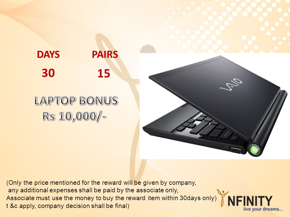 30 15 LAPTOP BONUS Rs 10,000/- DAYS PAIRS