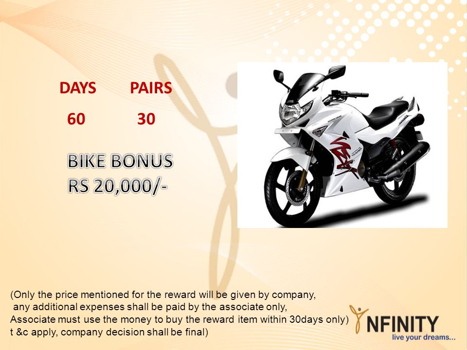 BIKE BONUS RS 20,000/- DAYS PAIRS 60 30