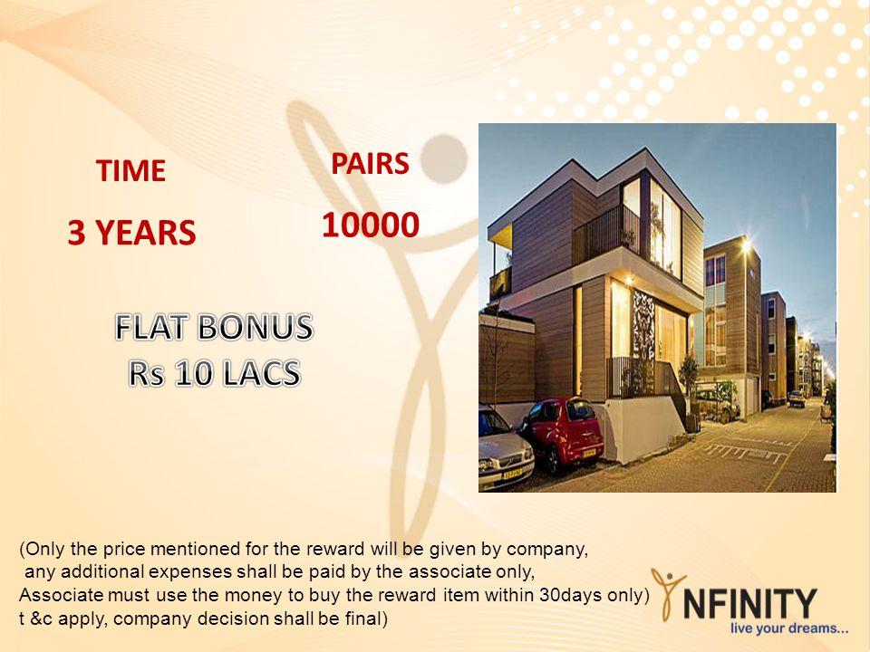 10000 3 YEARS FLAT BONUS Rs 10 LACS PAIRS TIME