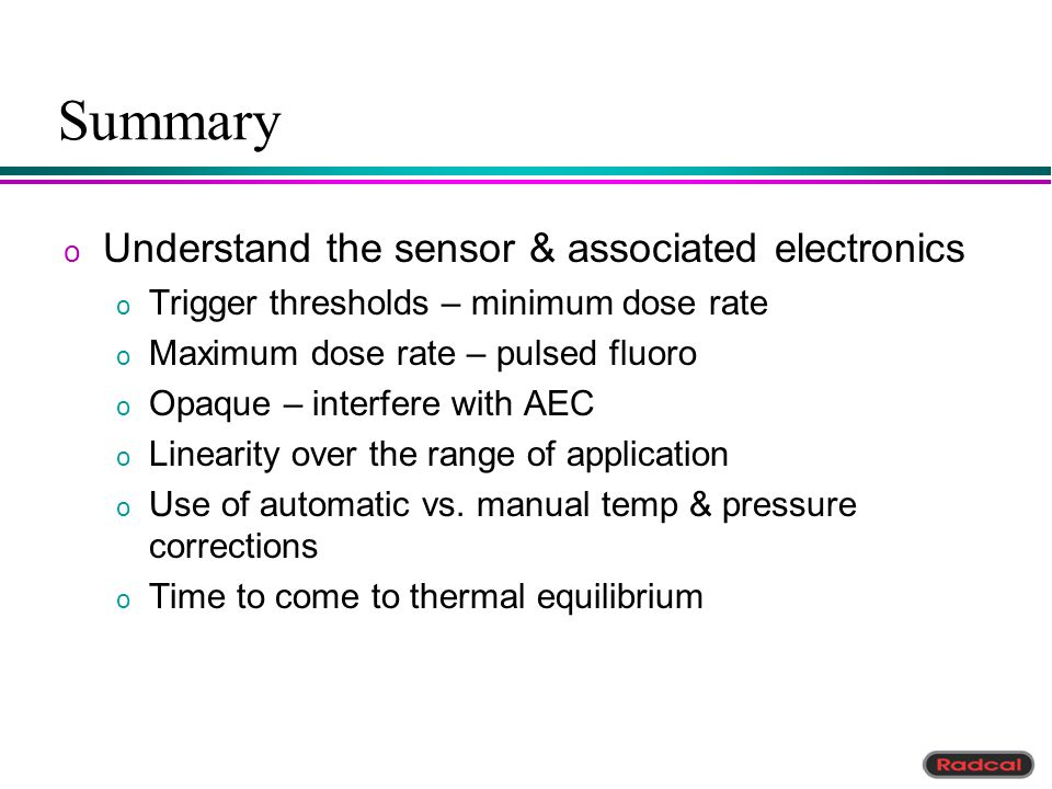 Summary Understand the sensor & associated electronics