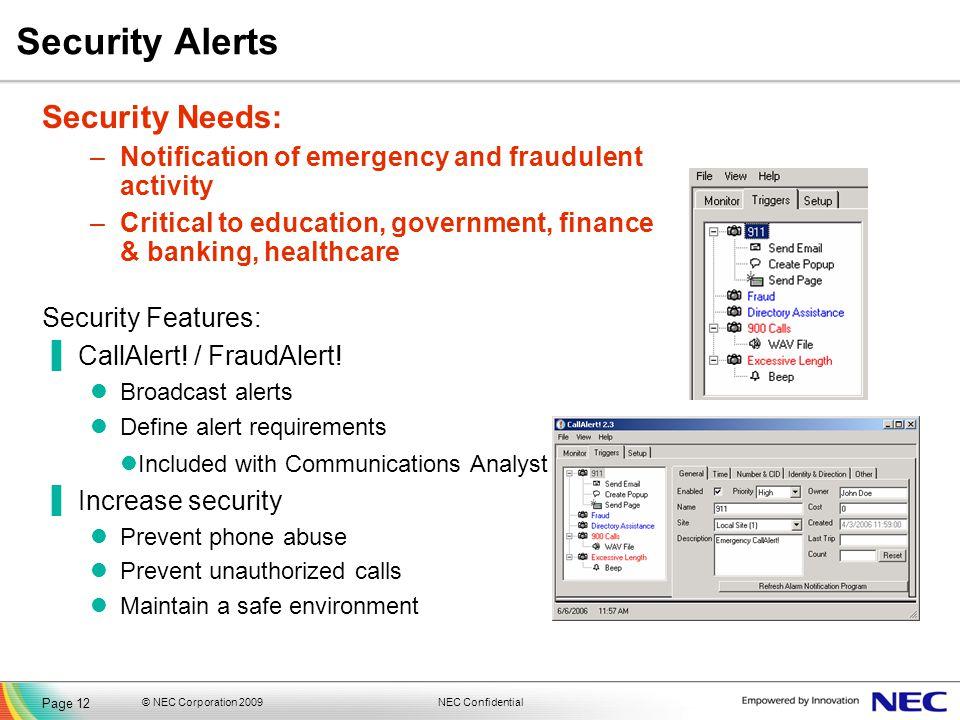 Security Alerts Security Needs: