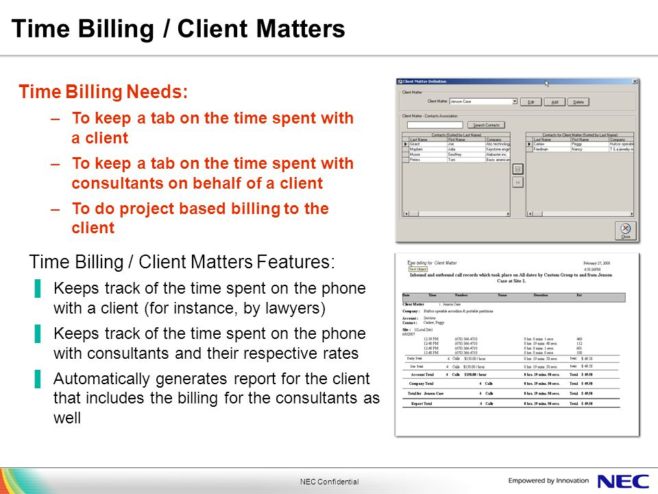 Time Billing / Client Matters