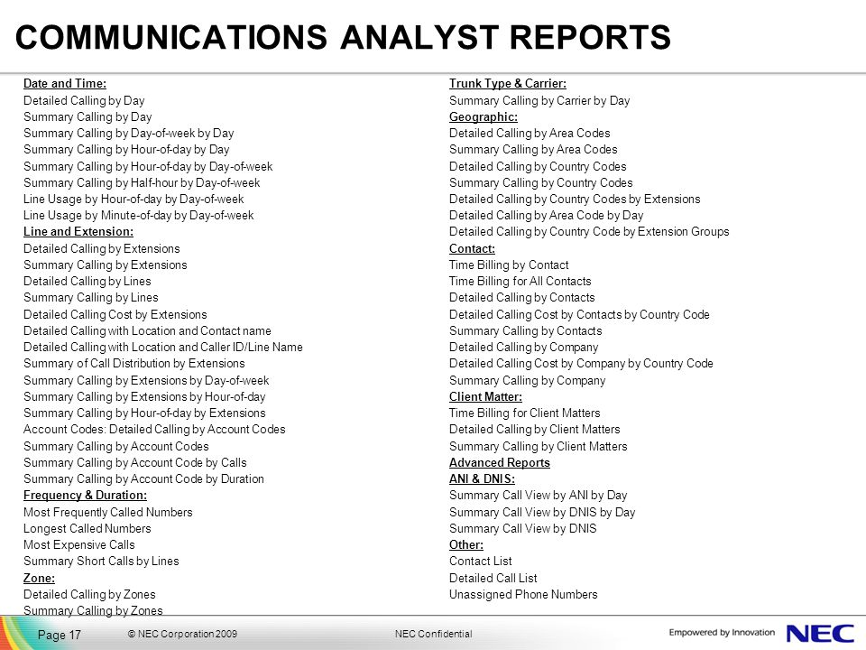 COMMUNICATIONS ANALYST REPORTS