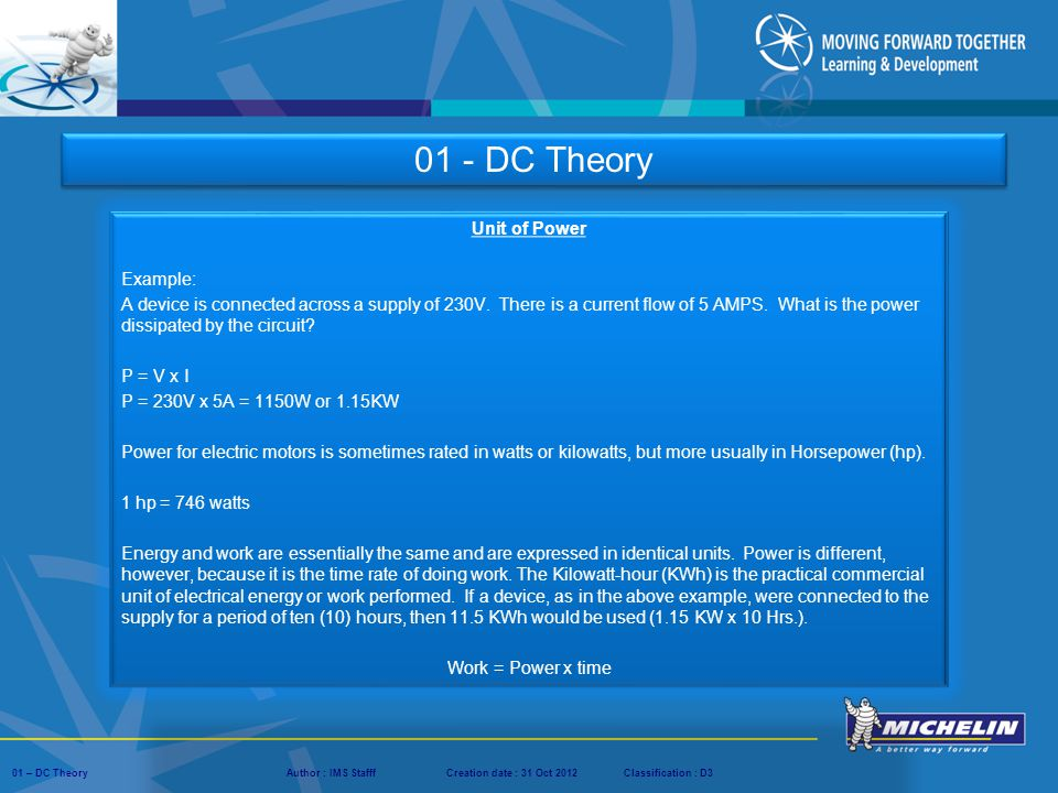 01 - DC Theory Unit of Power Example: