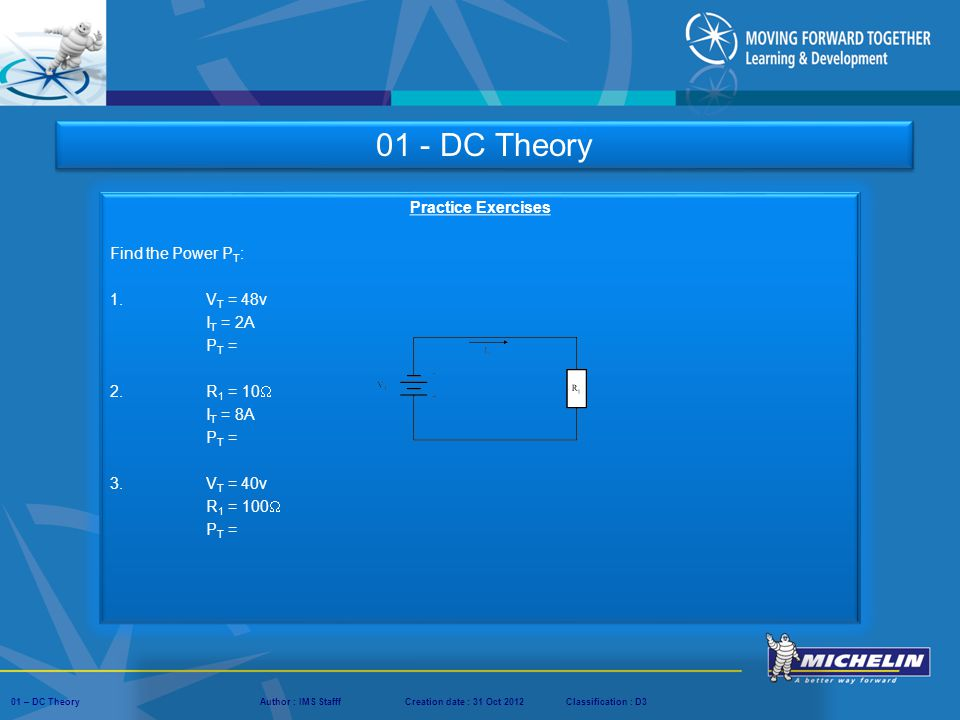 01 - DC Theory Practice Exercises Find the Power PT: 1. VT = 48v