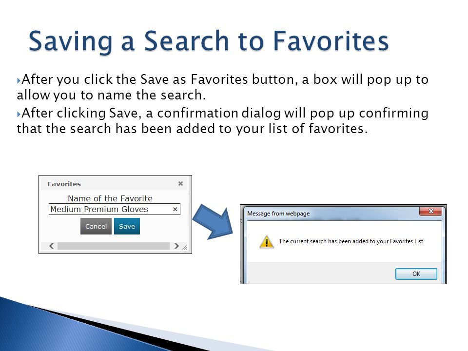 Saving a Search to Favorites