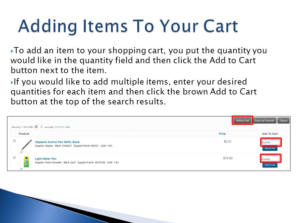 Adding Items To Your Cart