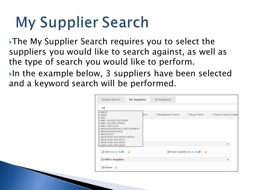 My Supplier Search
