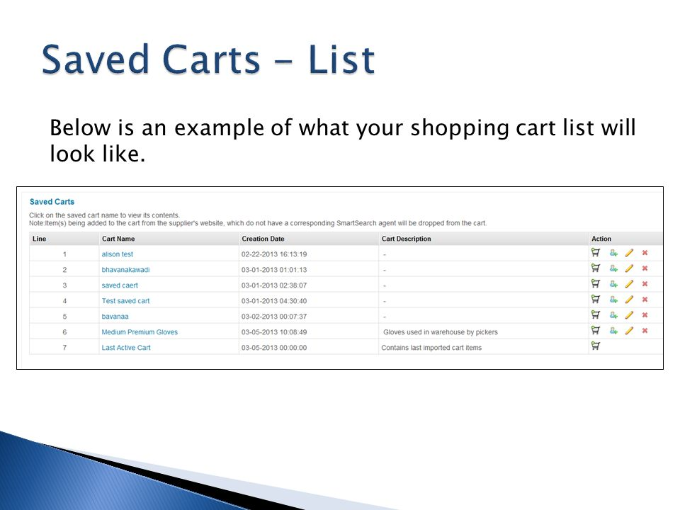 Saved Carts - List Below is an example of what your shopping cart list will look like.