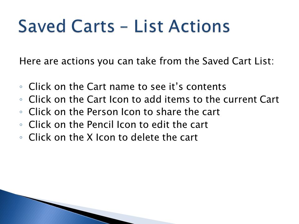 Saved Carts – List Actions