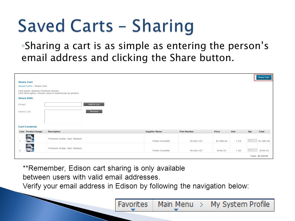Saved Carts – Sharing Sharing a cart is as simple as entering the person's email address and clicking the Share button.