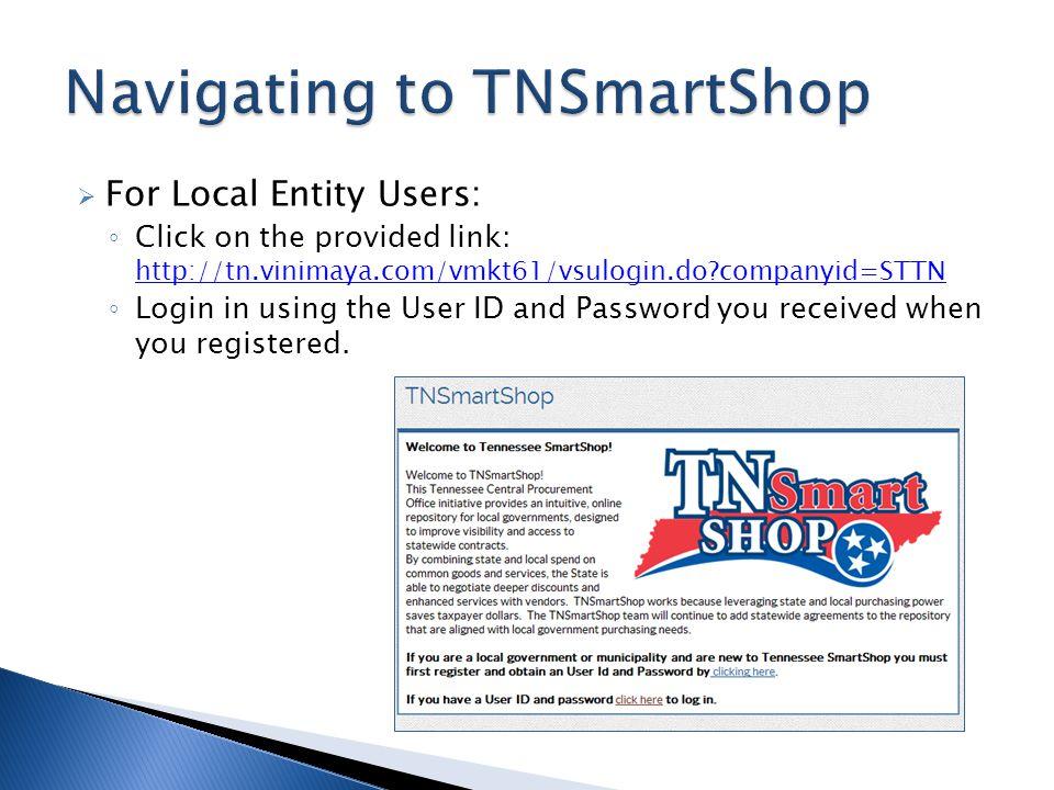 Navigating to TNSmartShop