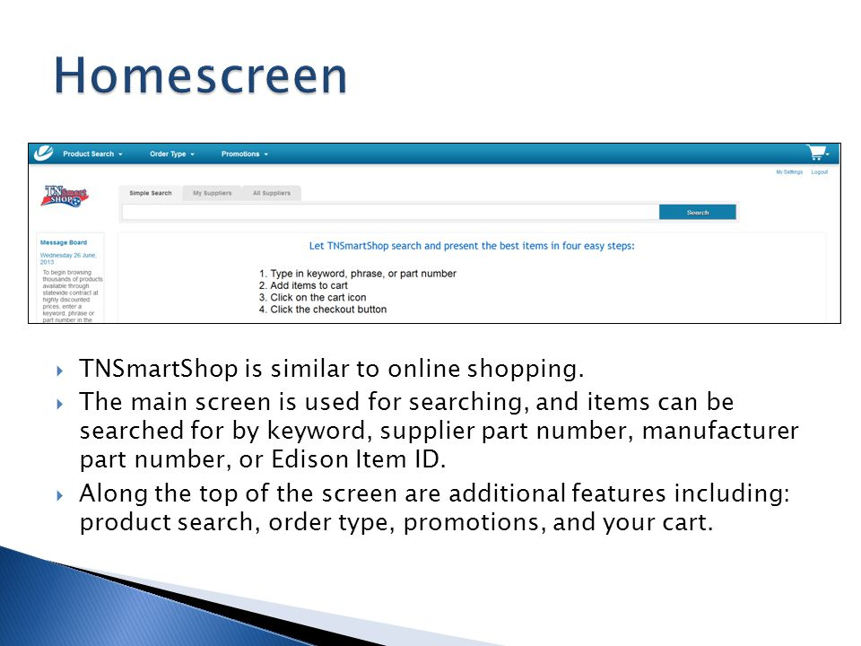Homescreen TNSmartShop is similar to online shopping.