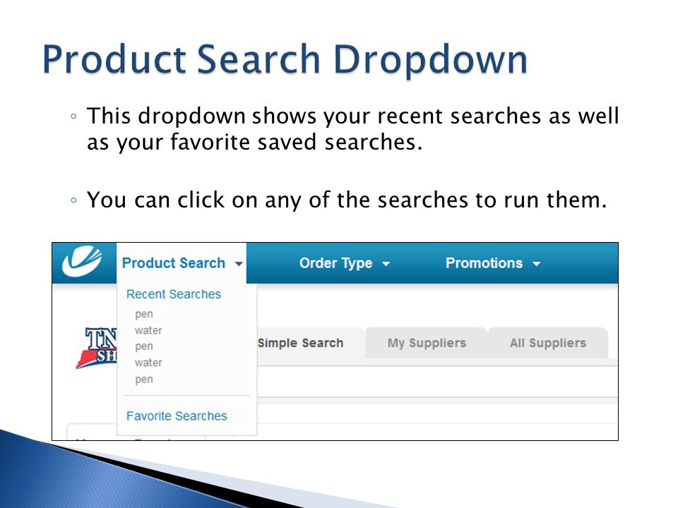 Product Search Dropdown