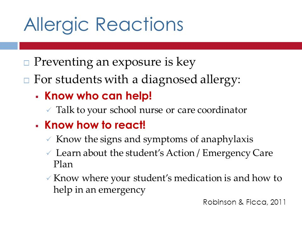 Allergic Reactions Preventing an exposure is key
