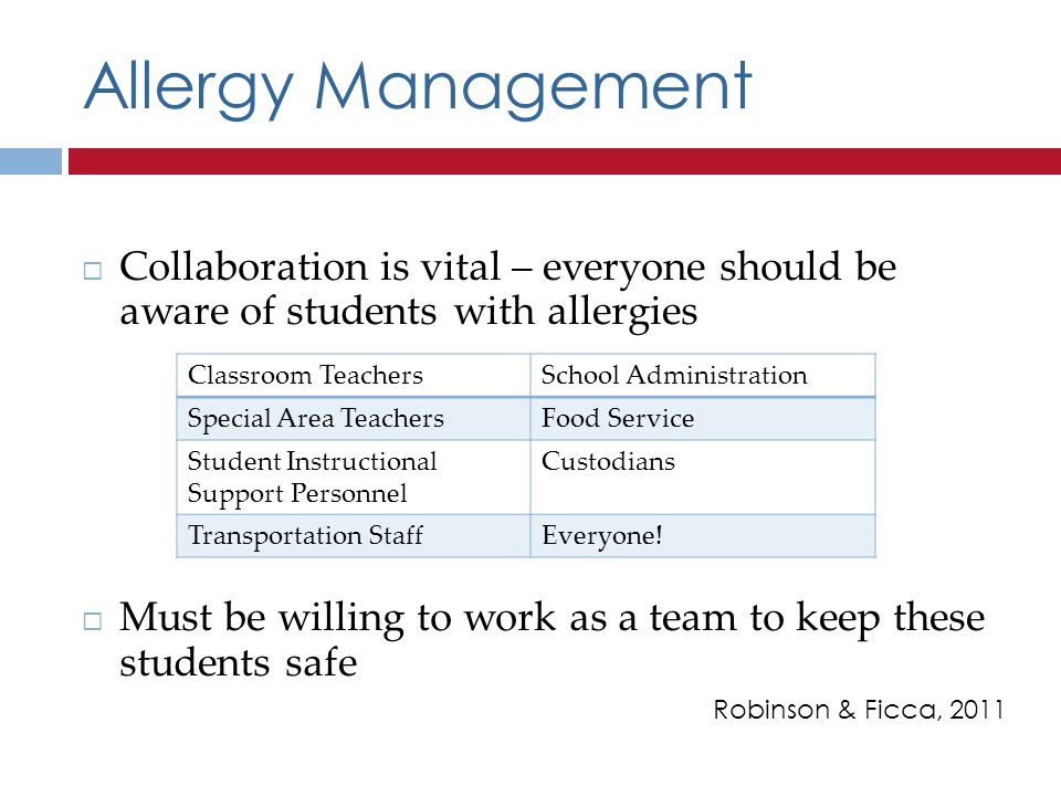 Allergy Management Collaboration is vital – everyone should be aware of students with allergies.