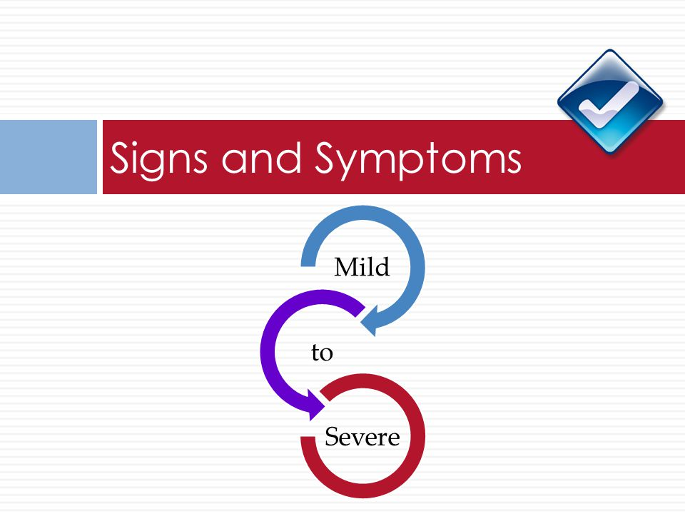 Signs and Symptoms Mild to Severe