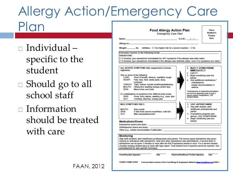 Allergy Action/Emergency Care Plan