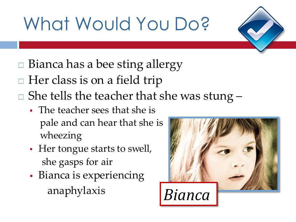 What Would You Do Bianca Bianca has a bee sting allergy