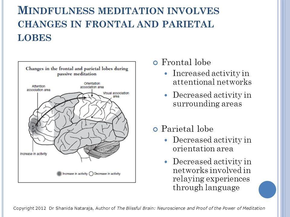 Mindfulness meditation involves changes in frontal and parietal lobes